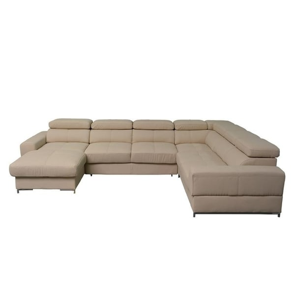 Shop Bazalt Beige Faux Leather Large Sleeper Sectional - On Sale ...