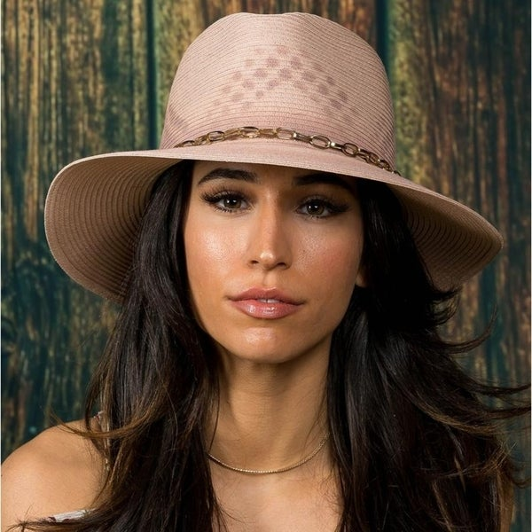 dcee647cc83 Shop Hatch Painted Sun Summer Poly Braid women s Gambler Fedora Hat ...
