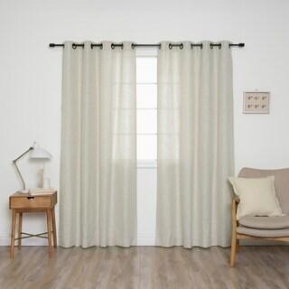 """Aurora Home Linen Blend Black Grommet Curtain Panel Pair - 52""""W x 84""""L"""