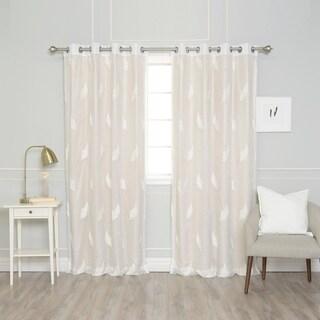 "Aurora Home Mix & Match Leaf Embroidered and Cotton Slub Blackout 4 Piece Curtain Panel Set - 52""W x 84""L"