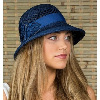 Women's Flower Patch Sun Summer Straw Cloche Fedora Hat (2 options available)