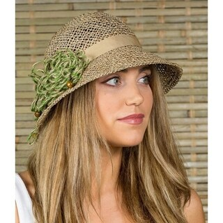 Women's Seagrass Sun Summer Straw Cloche Fedora Hat Olive