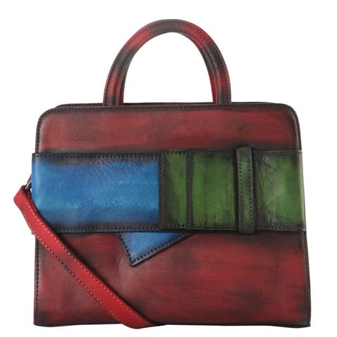 Diophy Genuine Leather 3 Tones Buckle Deoration Tote