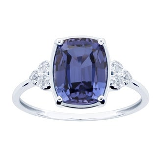 10K White Gold 3.09ct TW Tanzanite and Diamond Ring - Purple