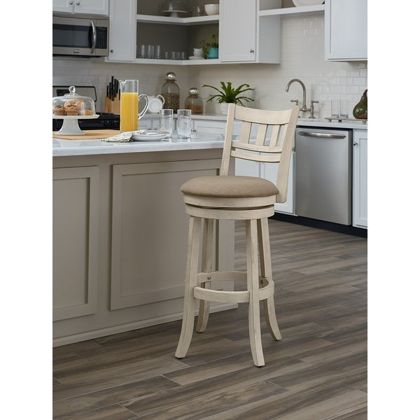The Gray Barn McNiven 30-inch Swivel Stool with Slatted Back. Opens flyout.