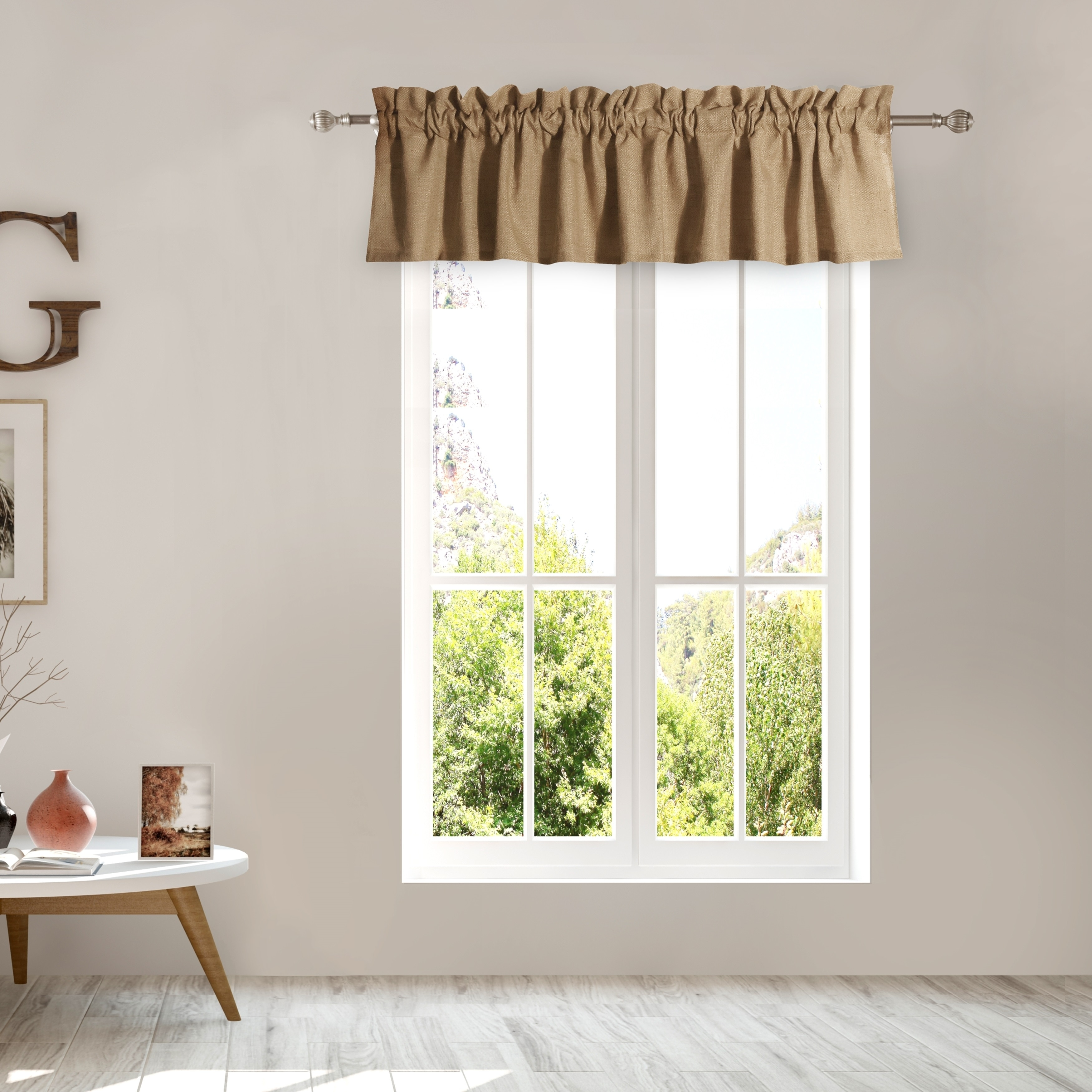 Greenland Home Burlap Natural Color Window Valance Overstock 21827575