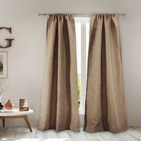 Greenland Home Burlap Natural-Color Curtain Panel Pair with Tiebacks