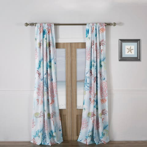 Barefoot Bungalow Sarasota Coastal Curtain Panel Pair with Tiebacks