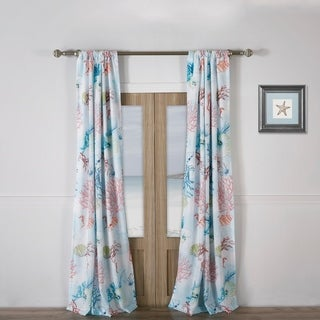 Barefoot Bungalow Sarasota Coastal Curtain Panel Pair with Tiebacks