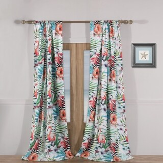Barefoot Bungalow Flamingo Tropical Curtain Panel Pair with Tiebacks