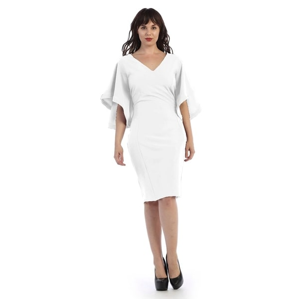 Plus Size Mid Length V Neck Dress With Flarred Sleeves Size 1x