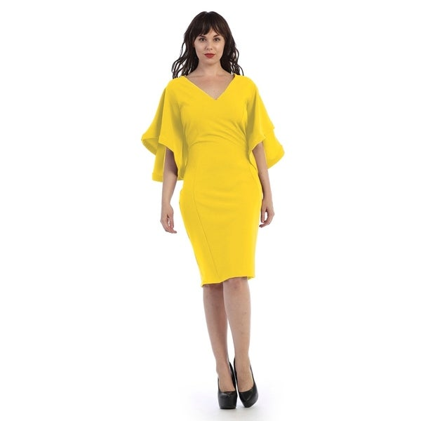 Plus Size Mid Length V Neck Dress With Flarred Sleeves Free