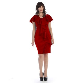 Plus size mid-length sleeveless dress with ruffle down the center