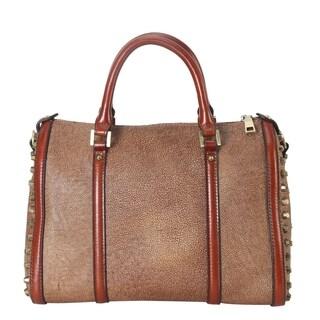 Diophy Genuine Leather 2 Sides Stud Decoration Duffel Bag