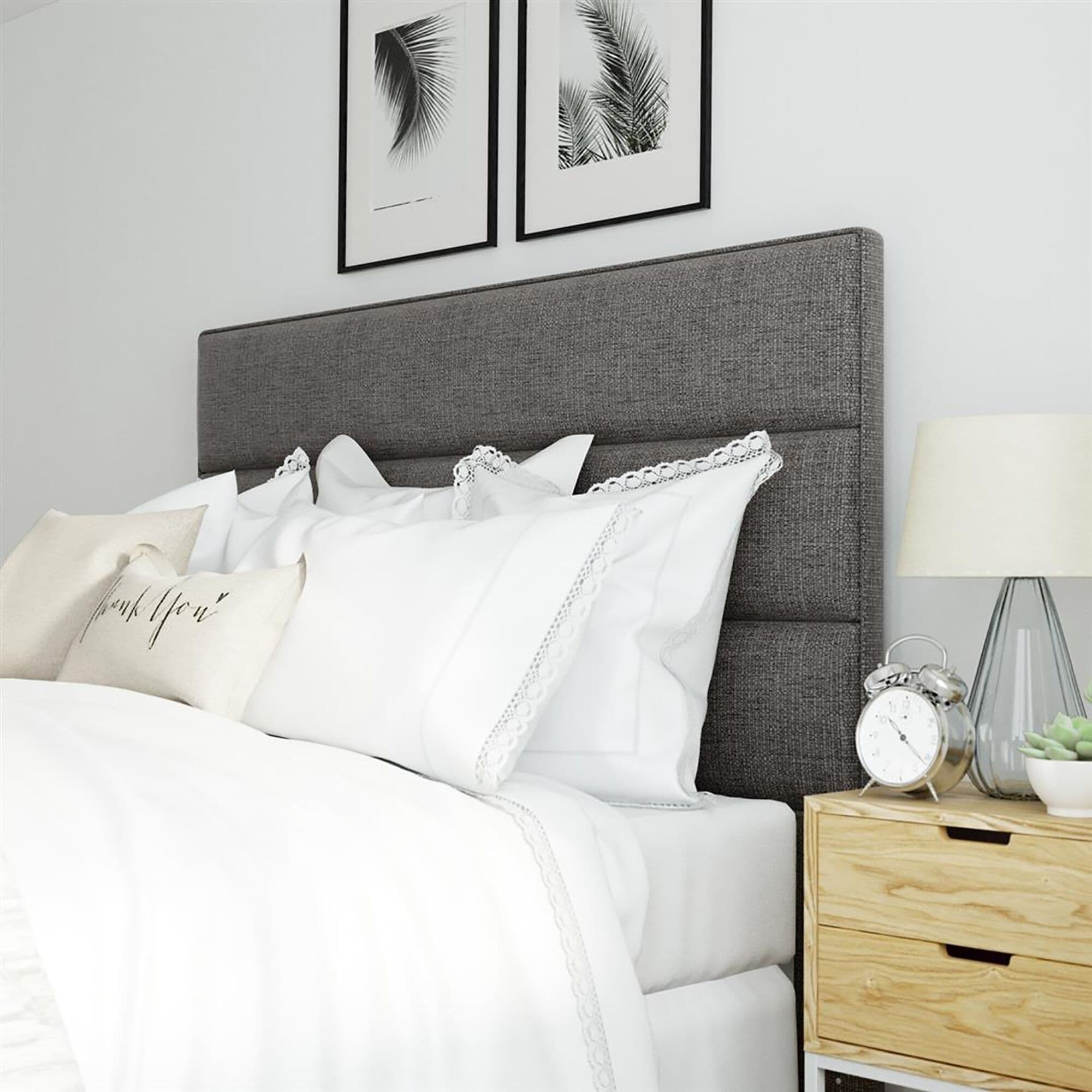 Serta Palisades Neutral Grey Upholstered Queen Size Headboard