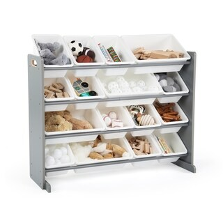 Tot Tutors Grey/White Super-Sized Kids Toy Storage Organizer w/ 16 Plastic Bins, Springfield Collection
