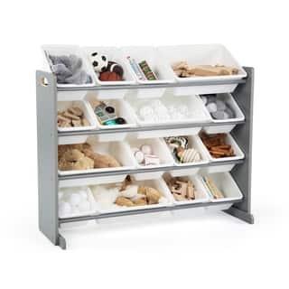 Tot Tutors Grey/White Super-Sized Kids Toy Storage Organizer w/ 16 Plastic Bins, Springfield Collection