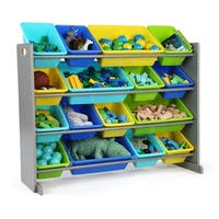 Tot Tutors Grey/Multi Super-Sized Kids Toy Storage Organizer w/ 16 Plastic Bins, Elements Collection