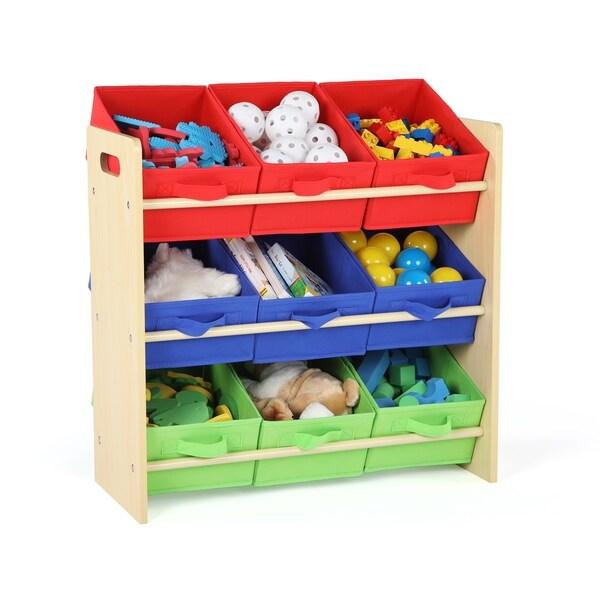 Charmant Tot Tutors Natural/Primary Kids Toy Storage Organizer W/ 9 Fabric Bins,  Primary
