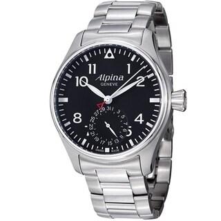 Alpina Men's AL-710B4S6B 'Aviation' Black Dial Stainless Steel Smartimer Pilot Swiss Automatic Watch