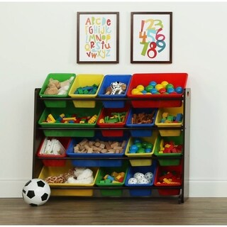 Tot Tutors Dark Walnut/Primary Super-Sized Kids Toy Storage Organizer w/ 16 Plastic Bins, Discover Collection