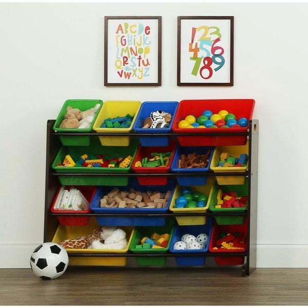 Tot Tutors Dark Walnut Primary Super Sized Kids Toy Storage Organizer W 16
