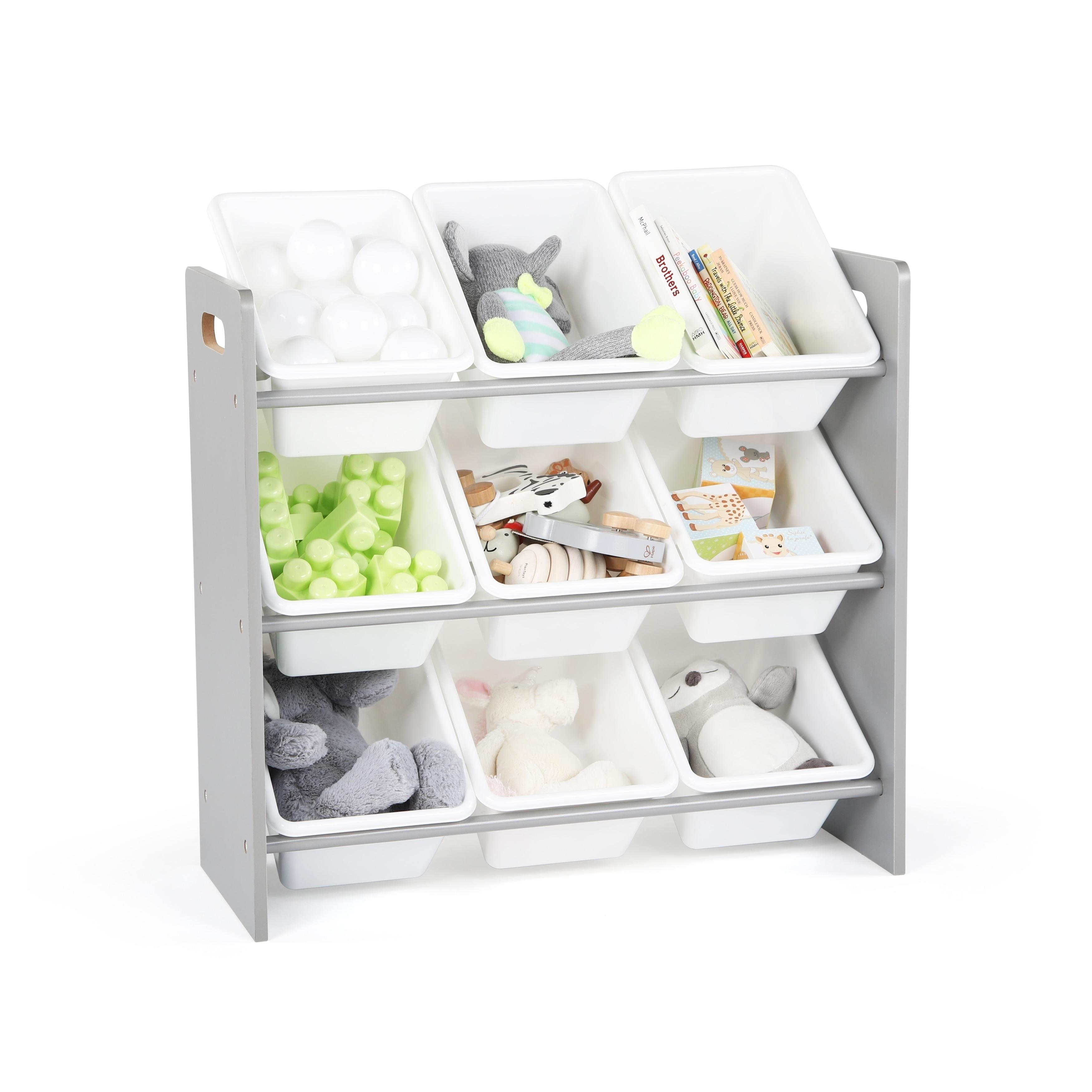 Tot Tutors Grey White Kids Toy Storage Organizer W 9 Plastic Bins Inspire Collection