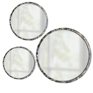 3 Piece Hand Painted Round Mirror Set