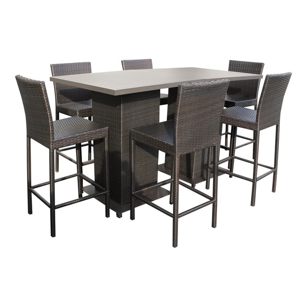 shop napa pub table set with barstools 8 piece outdoor wicker patio rh overstock com napa patio furniture website napa valley resources patio furniture