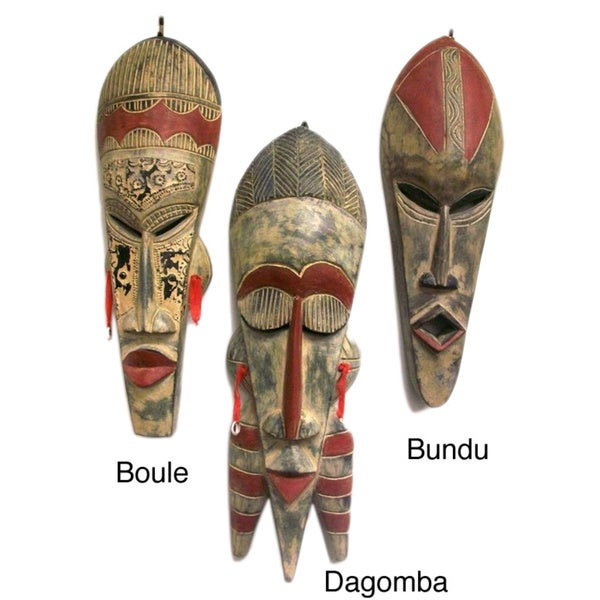Symbolic Sese Wood African Tribal Mask (Ghana)