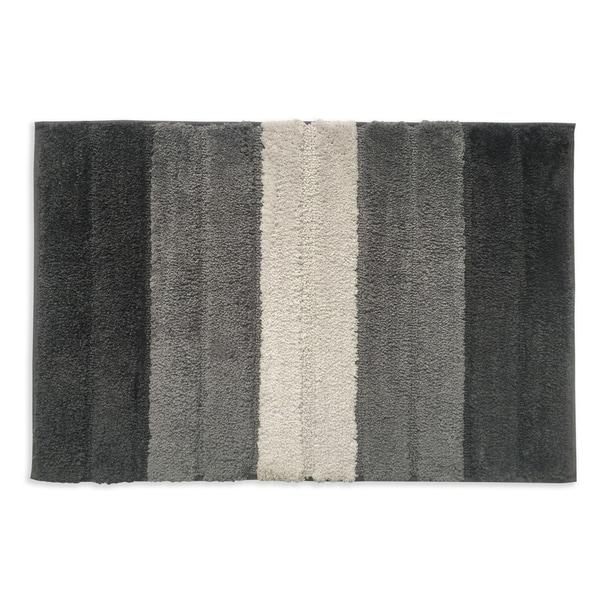Lino Stripe Grey Bath Mat