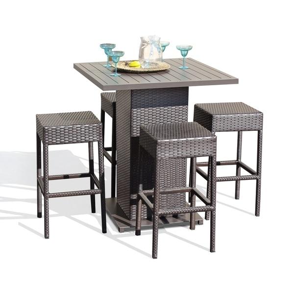 Napa Pub Table Set With Backless Barstools 5 Piece Outdoor Wicker Patio  Furniture - Shop Napa Pub Table Set With Backless Barstools 5 Piece Outdoor