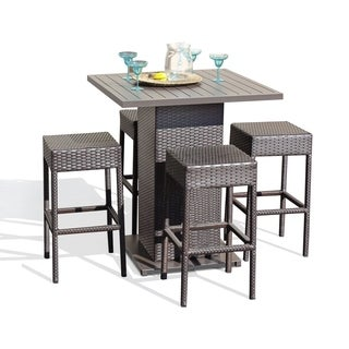 Napa Pub Table Set With Backless Barstools 5 Piece Outdoor Wicker Patio Furniture