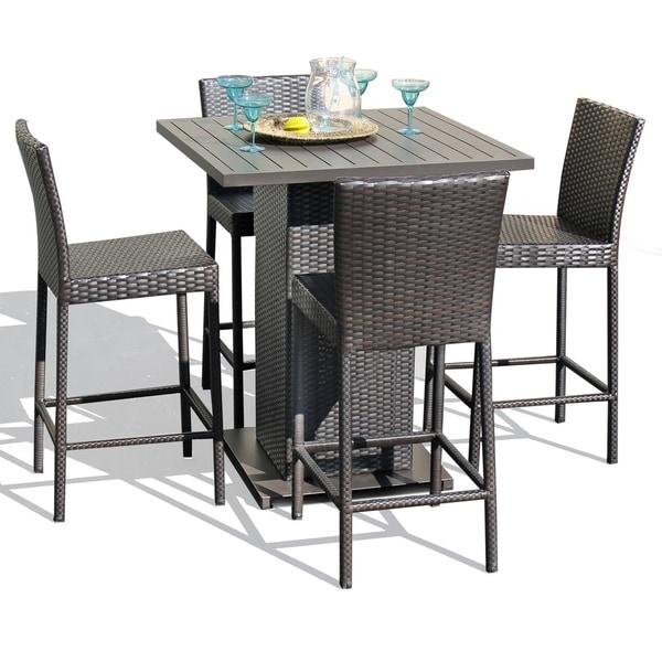 Napa Pub Table Set With Barstools 5 Piece Outdoor Wicker Patio Furniture - Shop Napa Pub Table Set With Barstools 5 Piece Outdoor Wicker Patio