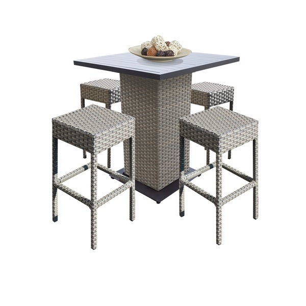 Oasis Pub Table Set With Backless Barstools 5 Piece Outdoor Wicker Patio Furniture