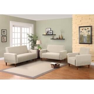 Stiletto Mid Century LinenSofa And Chair Living Room Set