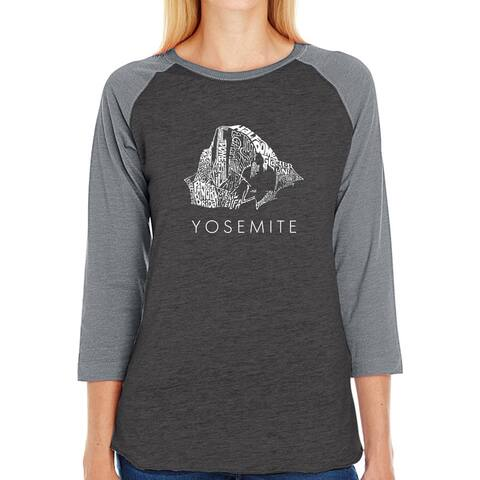 LA Pop Art Women's Raglan Baseball Word Art T-shirt - Yosemite