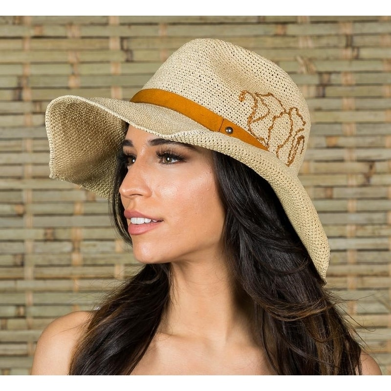 C.C Womens Raffia Weaved Band and Brim Fedora Panama Summer Sun Hat