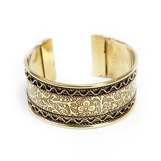 Handmade Copper and Brass Floral Cuff Bracelet (India)