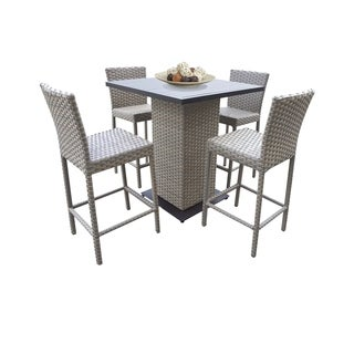 Oasis Pub Table Set With Barstools 5 Piece Outdoor Wicker Patio Furniture