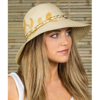 Hatch MALIBU Sun Summer Poly Braid Sewn Women's Wide Brim Floppy Hat (Option: Natural/Gold)