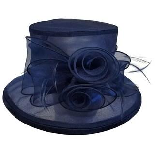 Swan Hat,Kentucky Derby Church Wedding Iridescent Organza Hat Navy