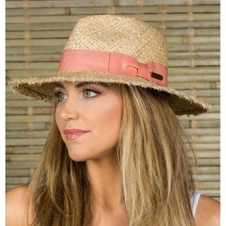 "Hatch ""FRAYED"" Sun Summer Straw Women's Fedora Hat Natural"