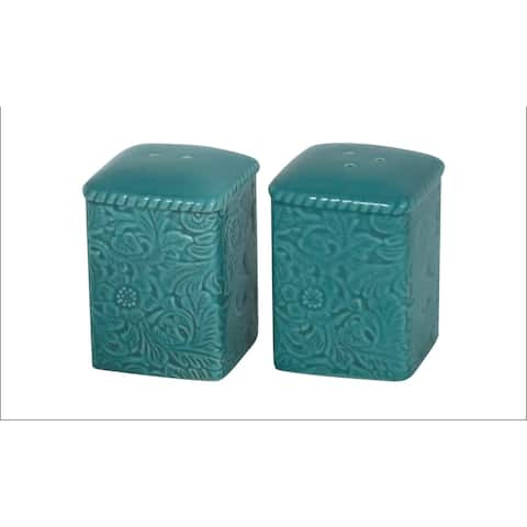 HiEnd Accents Savannah Salt & Pepper Set, Turquoise