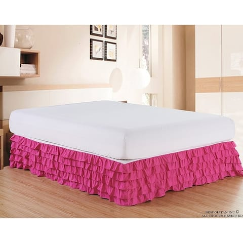 Elegant Comfort Luxurious Premium Quality Wrinkle and Fade Resistant Multi-Ruffle Bed Skirt - 15inch Drop