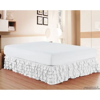 Elegant Comfort Luxurious Premium Quality Wrinkle And Fade Resistant Multi Ruffle Bed Skirt 15inch