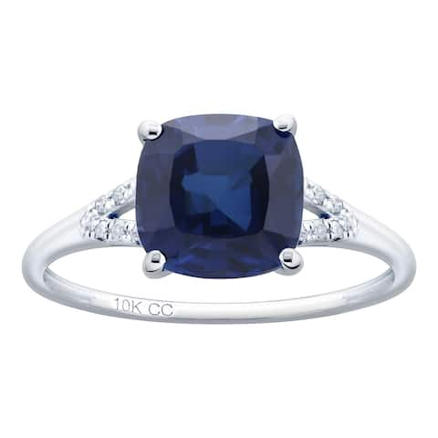 10K White Gold 3.27ct TW Sapphire and Diamond Ring - Blue