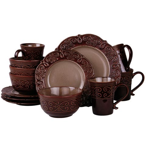 Elama's Salia 16 Piece Stoneware Dinnerware Set