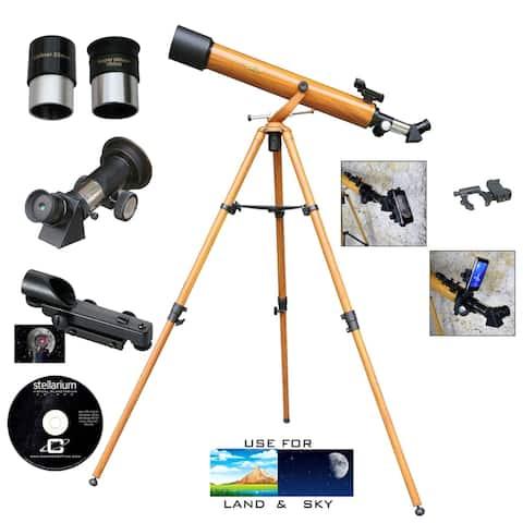 Galileo 800mmx60mm Wood Grain Day/Night Telescope