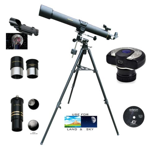 900mm x 80mm EQ1 Mount Refractor Telescope with C-13MP Camera Eyepiece